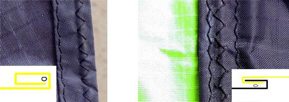 Примеры строчек при изготовлении кайта